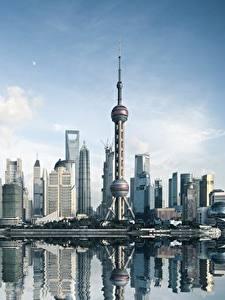 Desktop hintergrundbilder Wolkenkratzer Gebäude China Shanghai Türme Städte