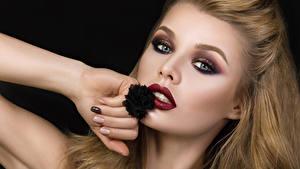 Images Black background Blonde girl Makeup Hands Staring Girls