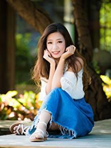 桌面壁纸,,亚洲人,坐,棕色的女人,散景,手,年輕女性,