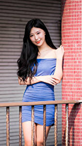 Wallpapers Asian Brunette girl Frock Smile Glance Girls