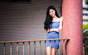 Bilder Asiatische Brünette Kleid Lächeln Blick Mädchens
