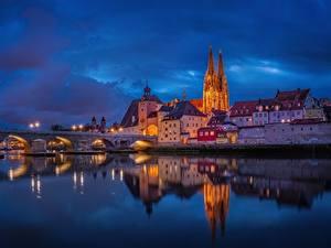 Bilder Abend Brücke Fluss Gebäude Deutschland Regensburg Danube River Städte