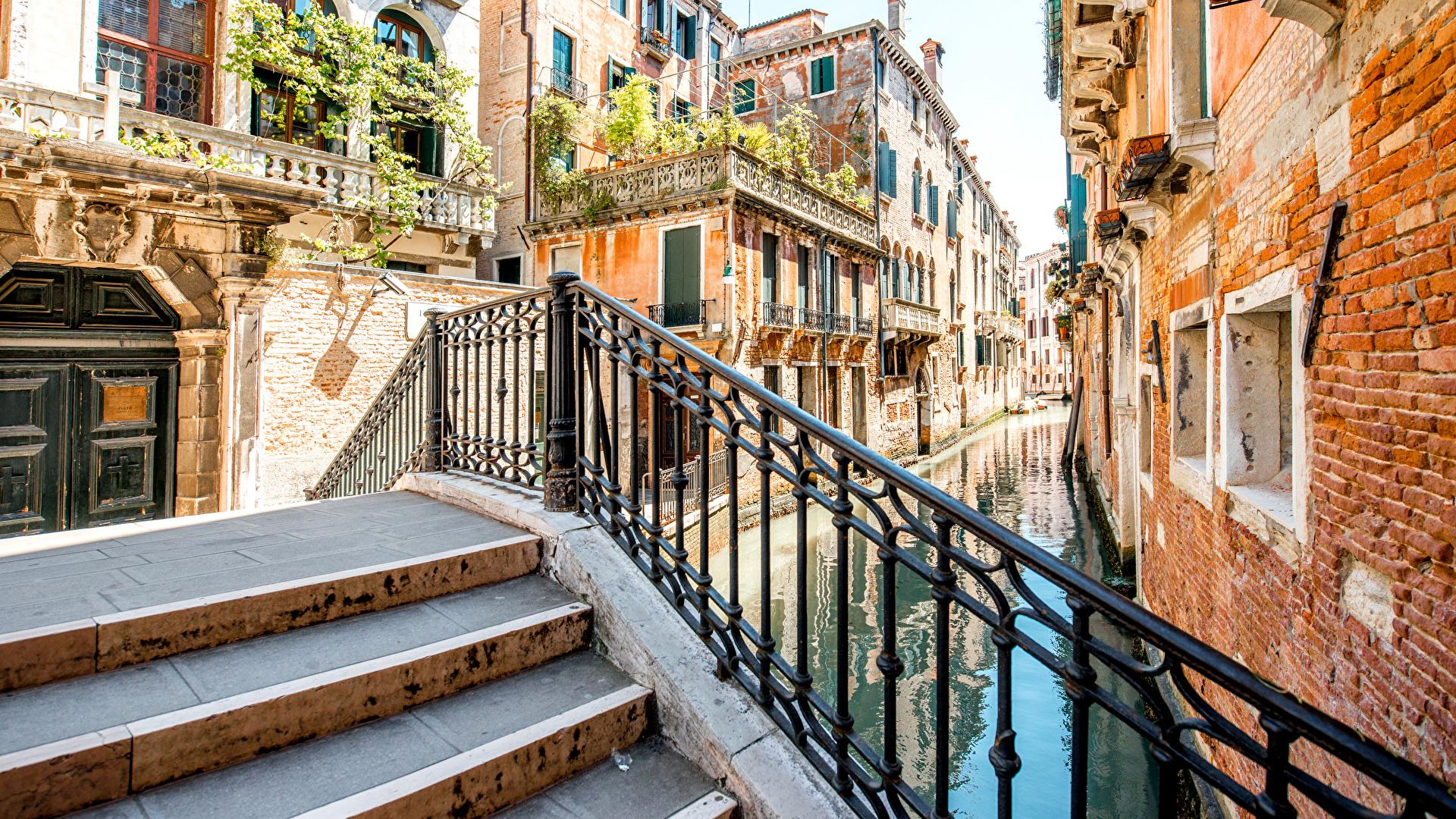 壁紙 1920x1080 イタリア 住宅 ヴェネツィア 運河 階段 都市