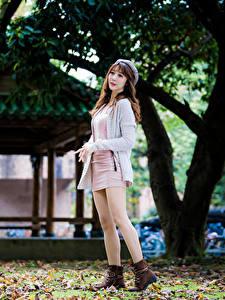 Bilder Asiaten Posiert Bein Kleid Braune Haare