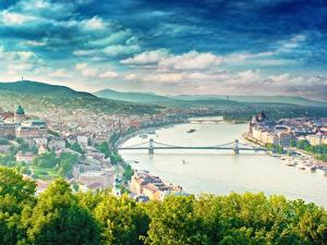 Fotos Fluss Brücken Ungarn Budapest dunai