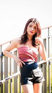 Fotos Asiaten Posiert Hand Shorts Braune Haare Mädchens