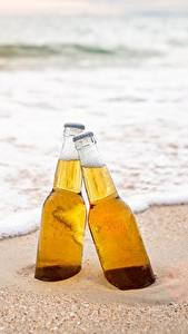 Wallpapers Beer Sea Bottle Two Foam Sand Food