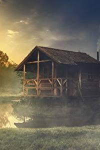 Hintergrundbilder See Gebäude Gras Nebel Aus Holz Natur