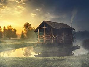 Pictures Lake Building Grass Fog From wood Nature