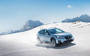 Fotos Subaru Hellblau Metallisch Schnee Geschwindigkeit 2017-18 XV Worldwide