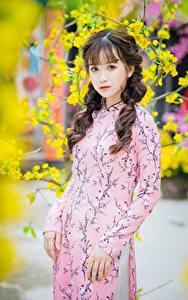 Desktop hintergrundbilder Asiatisches Bokeh Kleid Hand Braunhaarige Niedlich Starren junge Frauen