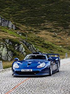 Fotos Porsche Blau Metallisch Fährt  auto