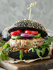 Wallpaper Fast food Hamburger Buns Vegetables Ketchup Cutting board