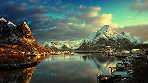 Picture Norway Lofoten Mountain Winter Building Evening Landscape photography Bay Village Cities
