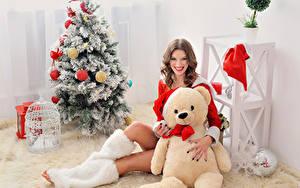 Bilder Neujahr Teddy Braune Haare Tannenbaum Lächeln Starren Sitzend Mädchens
