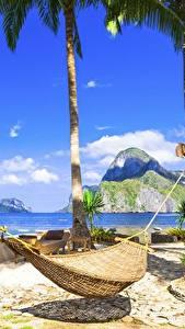 Hintergrundbilder Tropen Himmel Hängematte Palmen Strand Natur