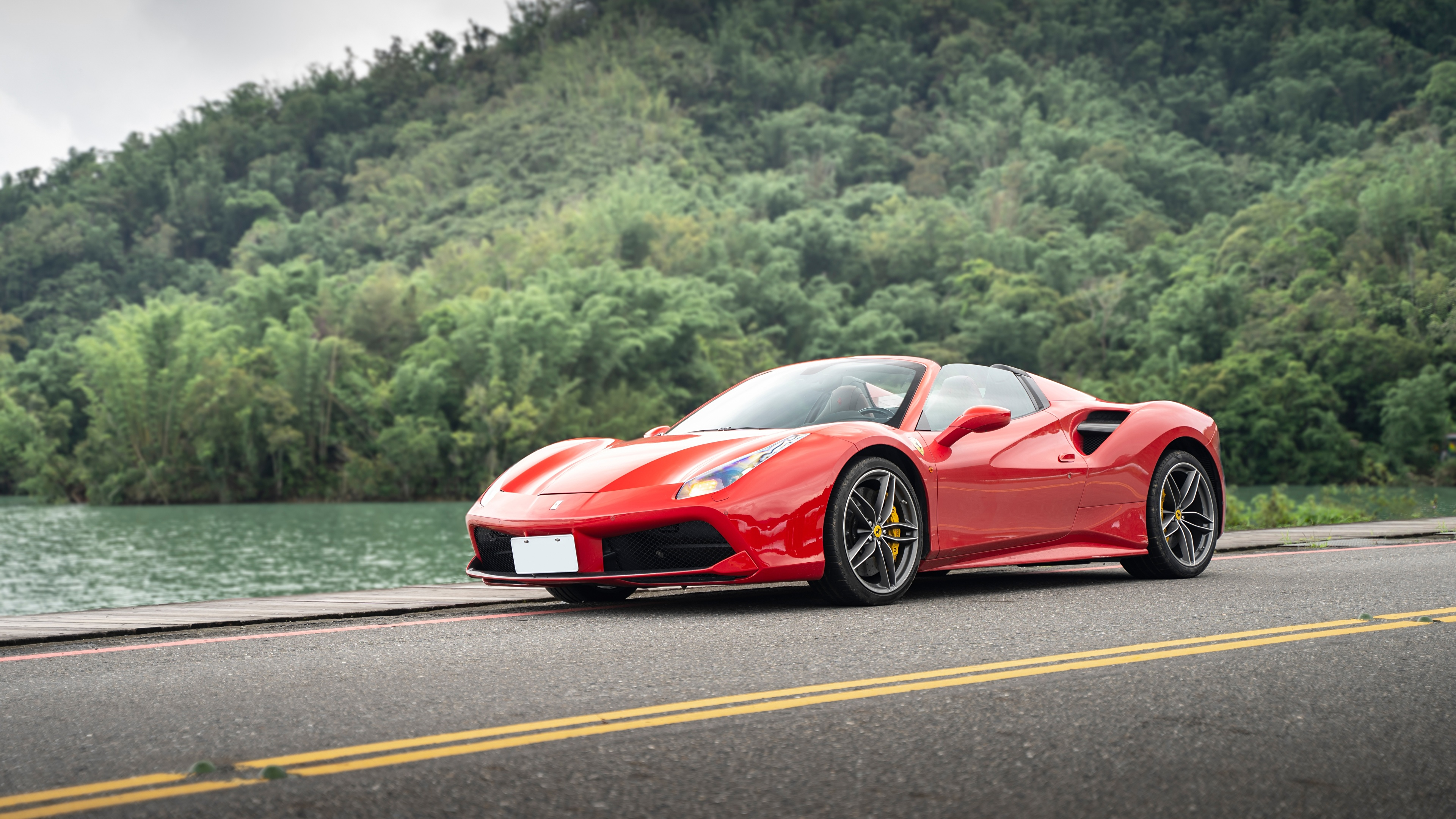 Desktop Wallpapers Ferrari 488 Spider Roadster Red Auto 3840x2160