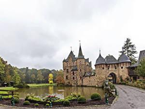 Pictures Germany Castles Pond Roads Bush Burg Satzvey Mechernich Cities