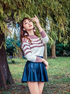 Fotos Asiatische Pose Ast Rock Sweatshirt junge frau
