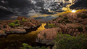 Bilder Spanien Sonnenaufgänge und Sonnenuntergänge Himmel Fluss Landschaftsfotografie Wolke Felsen Arizona Natur