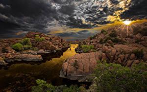 Desktop hintergrundbilder Spanien Sonnenaufgänge und Sonnenuntergänge Himmel Fluss Landschaftsfotografie Wolke Felsen Arizona Natur