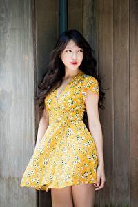 Bilder Asiatisches Bokeh Kleid Brünette Blick Hand junge Frauen