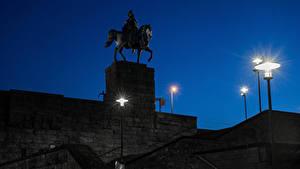 Fotos Deutschland Köln Denkmal Nacht Stiege Straßenlaterne Kaiser Wilhelm I Städte