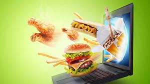 Hintergrundbilder Fast food Hamburger Hotdog Farbigen hintergrund Notebook