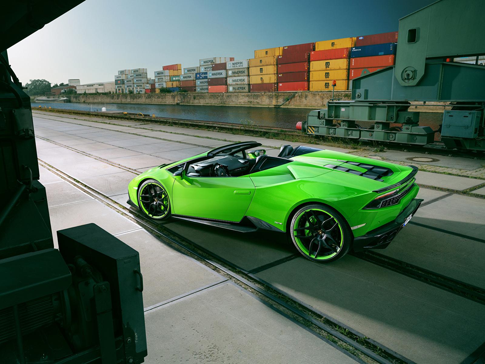 Fotos von Lamborghini Spyder Novitec Torado Huracan Roadster Gelbgrüne Autos 1600x1200