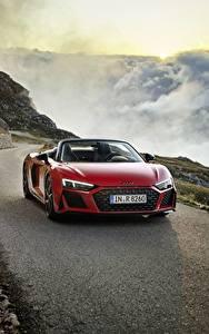 Fotos Gebirge Audi Rot Metallisch Fahrendes Roadster R8, Spyder, V10, 2020, RWD auto