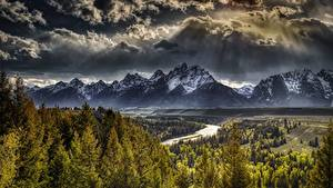 Bilder Vereinigte Staaten Gebirge Wälder Landschaftsfotografie Wolke HDRI Tetons, Wyoming, Grand Teton National Park Natur
