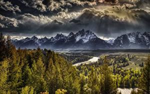 Bilder USA Gebirge Wälder Landschaftsfotografie Wolke HDR Tetons, Wyoming, Grand Teton National Park