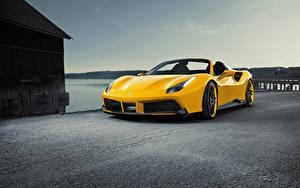 Hintergrundbilder Ferrari Gelb Roadster Spider Rosso Novitec 488