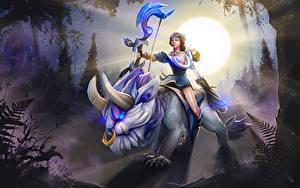 Bilder DOTA 2 Bogenschütze Magische Tiere Mirana Sonne Lichtstrahl Spiele Fantasy Mädchens
