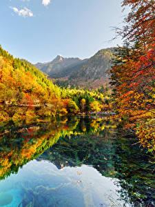 Pictures Jiuzhaigou park China Parks Autumn Forests Lake