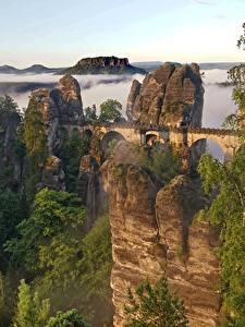 Fotos Gebirge Brücke Schweiz Felsen Nebel Bäume Bastei Cliffs, Saxon Switzerland