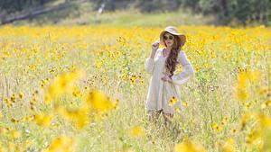 Fotos Sommer Gras Unscharfer Hintergrund Braune Haare Brille Der Hut Kleid