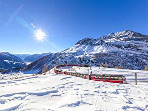 Fotos Schweiz Gebirge Winter Züge Alpen Schnee Sonne Graubunden