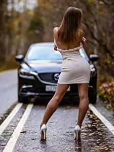 Photo Autumn Roads Asphalt Brown haired Gown Back view Pose Legs Stilettos female