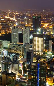 Fotos Istanbul Türkei Gebäude Nacht Von oben Städte