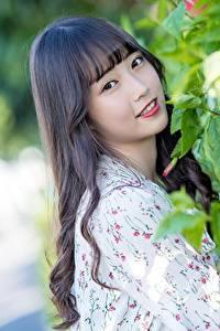 Hintergrundbilder Asiaten Bokeh Süß Blick Brünette Haar Mädchens