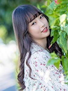 Hintergrundbilder Asiaten Bokeh Süß Blick Brünette Haar
