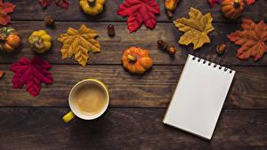 Bilder Herbst Kürbisse Kaffee Bretter Blattwerk Tasse Notizblock Lebensmittel