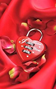 Wallpapers Valentine's Day Heart Petals Red Padlock