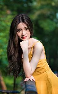 Bilder Asiatische Unscharfer Hintergrund Posiert Hand Kleid Haar Blick Mädchens