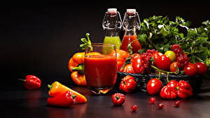Bilder Gemüse Tomate Peperone Fruchtsaft Meertrübeli Trinkglas Lebensmittel