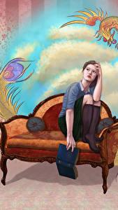 Bilder Gezeichnet Sessel Sitzen Buch Mädchens