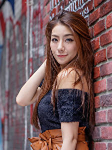 Pictures Asiatic Brown haired Walls Made of bricks Glance Blurred background Girls