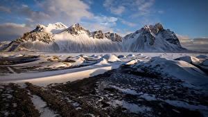 Picture Mountains Iceland Snow Auster-Skaftafellssysla Vestrahorn Nature