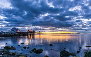 Fotos Kanada Landschaftsfotografie Flusse Seebrücke Himmel Sonnenaufgänge und Sonnenuntergänge Steine Vancouver Wolke